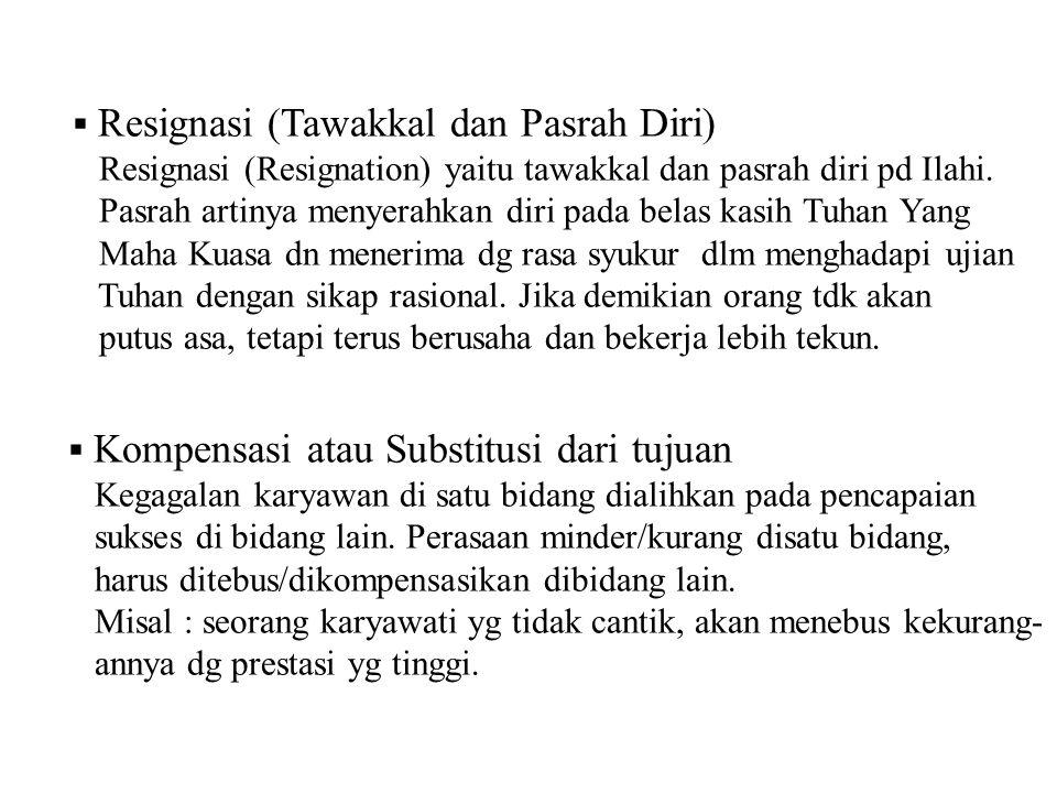  Resignasi (Tawakkal dan Pasrah Diri) Resignasi (Resignation) yaitu tawakkal dan pasrah diri pd Ilahi.