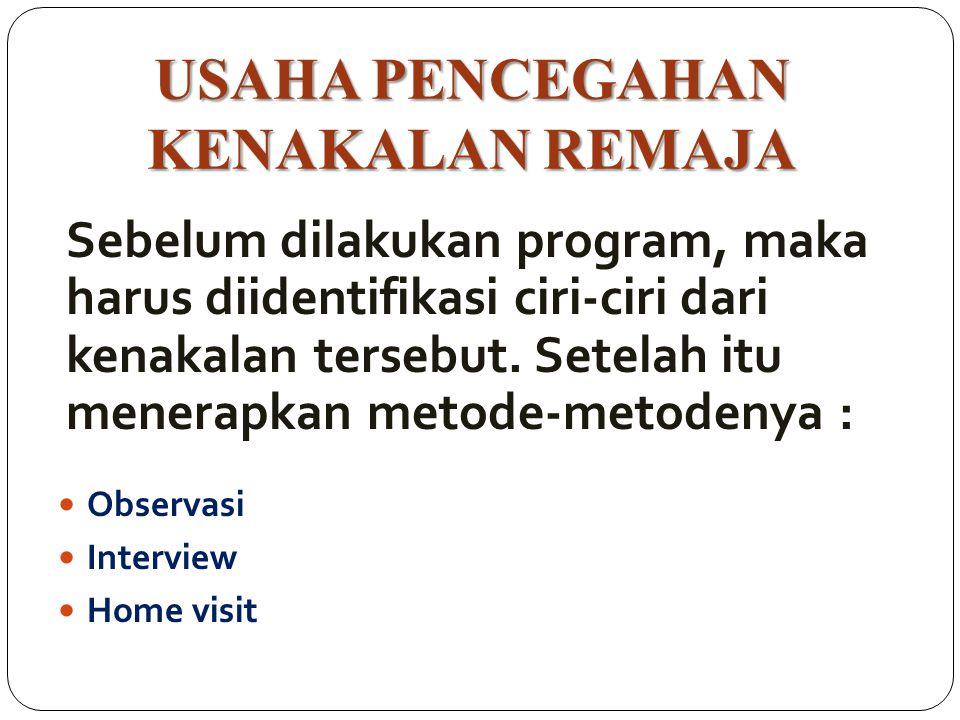 USAHA PENCEGAHAN KENAKALAN REMAJA Observasi Interview Home visit Sebelum dilakukan program, maka harus diidentifikasi ciri-ciri dari kenakalan tersebu