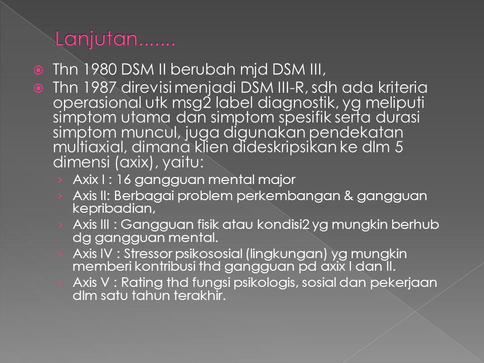  Thn 1980 DSM II berubah mjd DSM III,  Thn 1987 direvisi menjadi DSM III-R, sdh ada kriteria operasional utk msg2 label diagnostik, yg meliputi simp