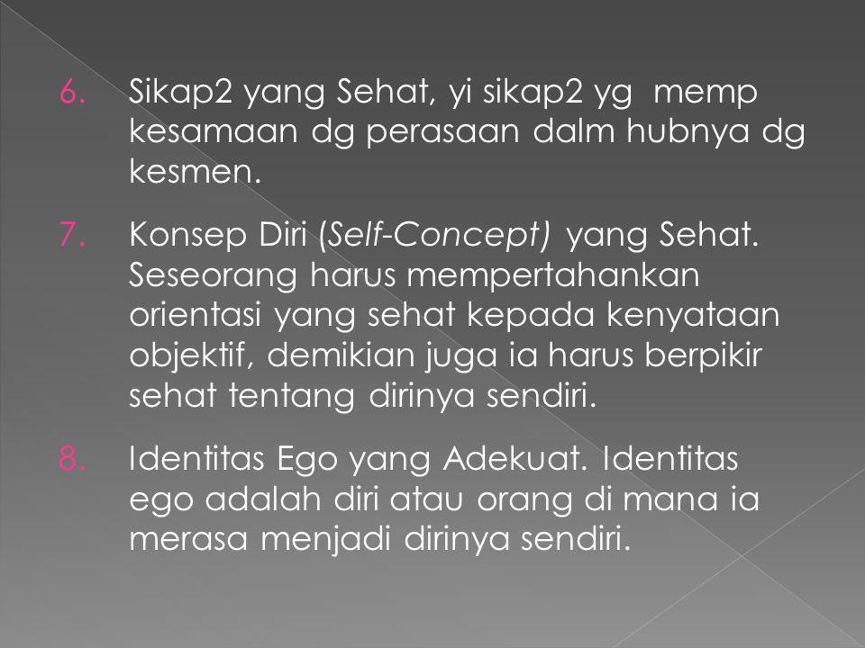 6.Sikap2 yang Sehat, yi sikap2 yg memp kesamaan dg perasaan dalm hubnya dg kesmen. 7.Konsep Diri (Self-Concept) yang Sehat. Seseorang harus mempertaha