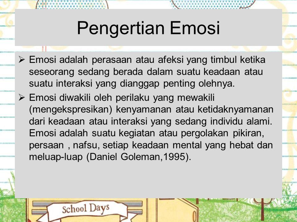 Pengertian Emosi  Emosi adalah perasaan atau afeksi yang timbul ketika seseorang sedang berada dalam suatu keadaan atau suatu interaksi yang dianggap