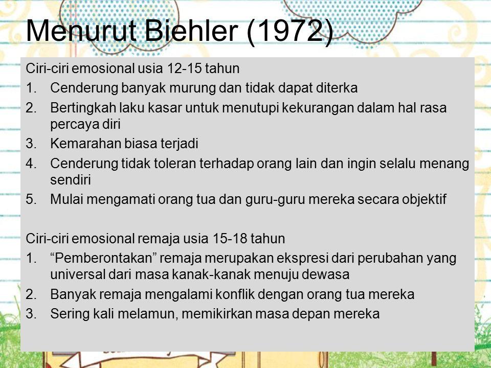 Menurut Biehler (1972) Ciri-ciri emosional usia 12-15 tahun 1.Cenderung banyak murung dan tidak dapat diterka 2.Bertingkah laku kasar untuk menutupi k