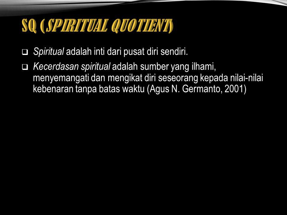  Spiritual adalah inti dari pusat diri sendiri.