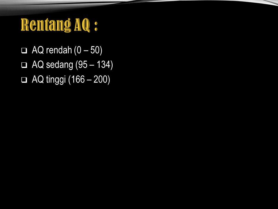  AQ rendah (0 – 50)  AQ sedang (95 – 134)  AQ tinggi (166 – 200)