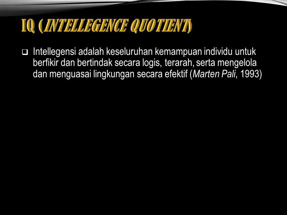 Intellegensi adalah keseluruhan kemampuan individu untuk berfikir dan bertindak secara logis, terarah, serta mengelola dan menguasai lingkungan secara efektif ( Marten Pali, 1993)
