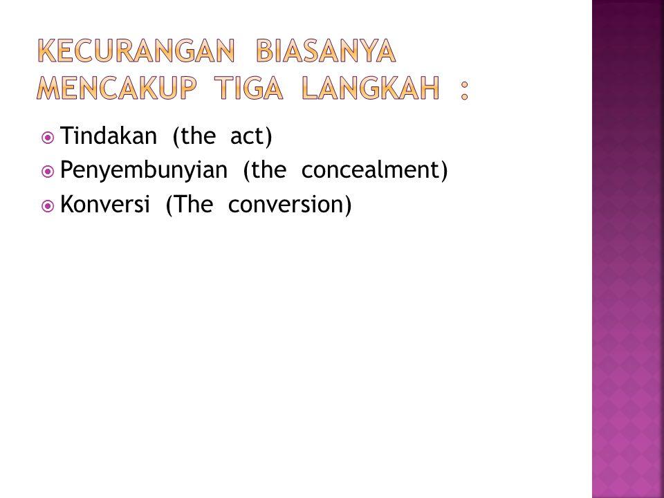  Tindakan (the act)  Penyembunyian (the concealment)  Konversi (The conversion)