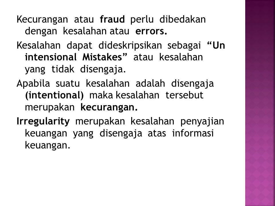 Kecurangan atau fraud perlu dibedakan dengan kesalahan atau errors.