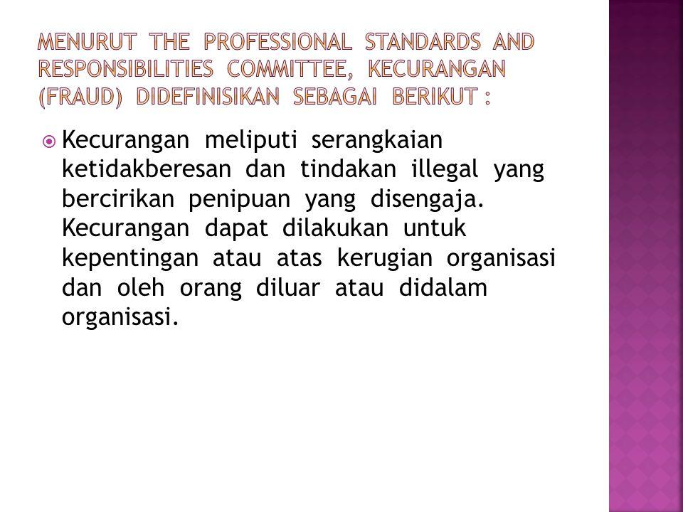  Kecurangan meliputi serangkaian ketidakberesan dan tindakan illegal yang bercirikan penipuan yang disengaja.