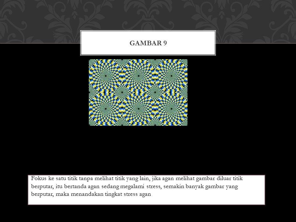 GAMBAR 9 Fokus ke satu titik tanpa melihat titik yang lain, jika agan melihat gambar diluar titik berputar, itu bertanda agan sedang megalami stress, semakin banyak gambar yang berputar, maka menandakan tingkat stress agan