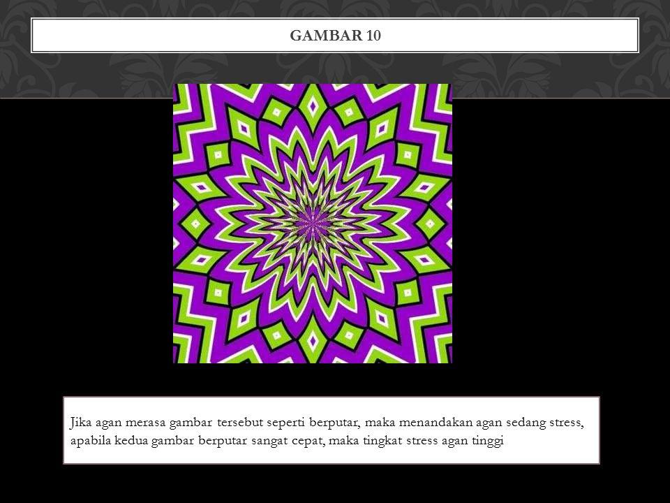 GAMBAR 10 Jika agan merasa gambar tersebut seperti berputar, maka menandakan agan sedang stress, apabila kedua gambar berputar sangat cepat, maka tingkat stress agan tinggi