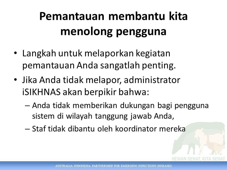 AUSTRALIA INDONESIA PARTNERSHIP FOR EMERGING INFECTIOUS DISEASES Pemantauan membantu kita menolong pengguna Langkah untuk melaporkan kegiatan pemantauan Anda sangatlah penting.