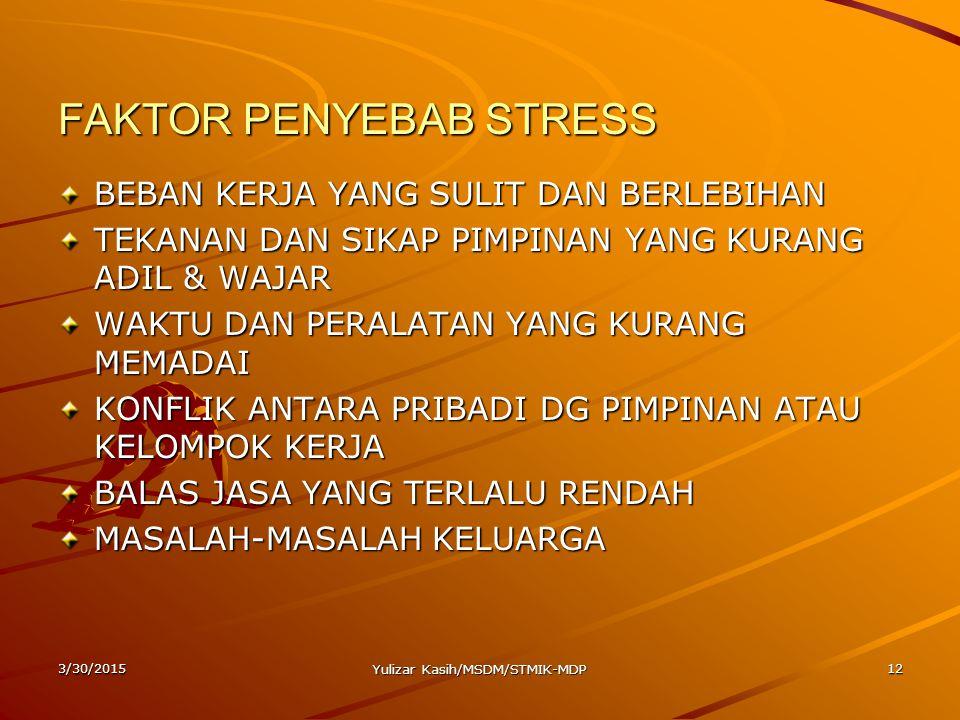3/30/2015 Yulizar Kasih/MSDM/STMIK-MDP 12 FAKTOR PENYEBAB STRESS BEBAN KERJA YANG SULIT DAN BERLEBIHAN TEKANAN DAN SIKAP PIMPINAN YANG KURANG ADIL & W