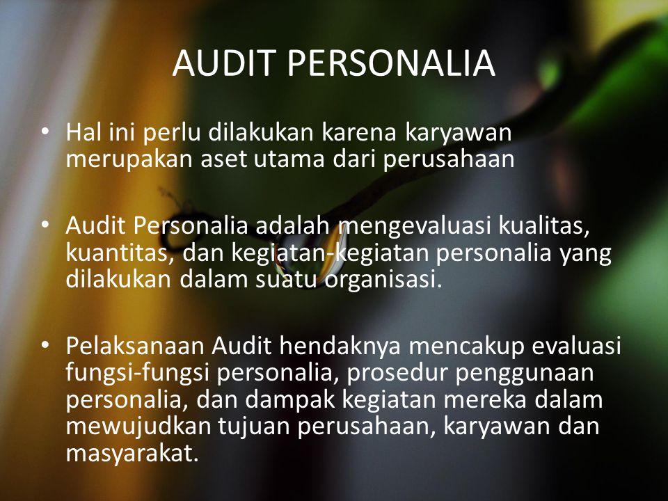AUDIT PERSONALIA Hal ini perlu dilakukan karena karyawan merupakan aset utama dari perusahaan Audit Personalia adalah mengevaluasi kualitas, kuantitas