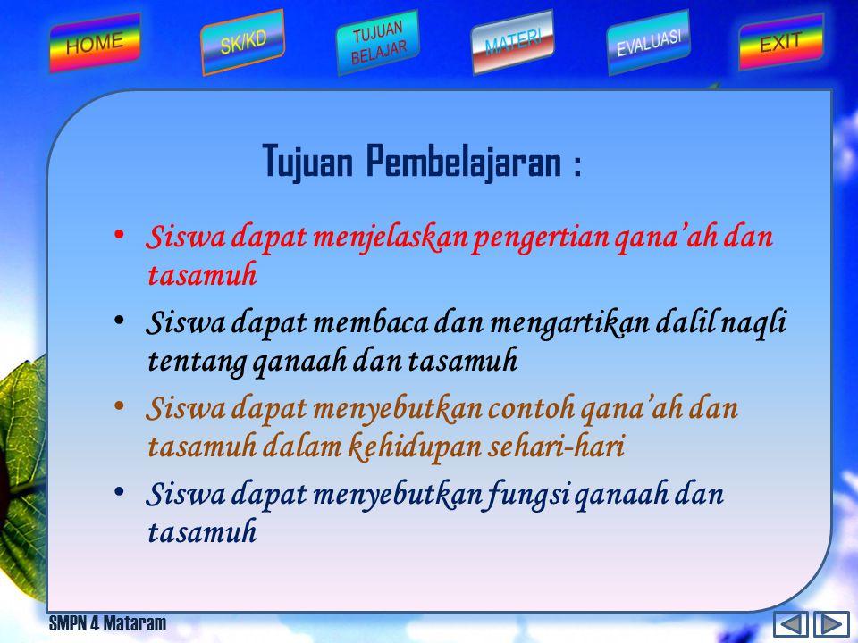 SMPN 4 Mataram Sikap tenggang rasa dan saling menghormati hak orang lain disebut...