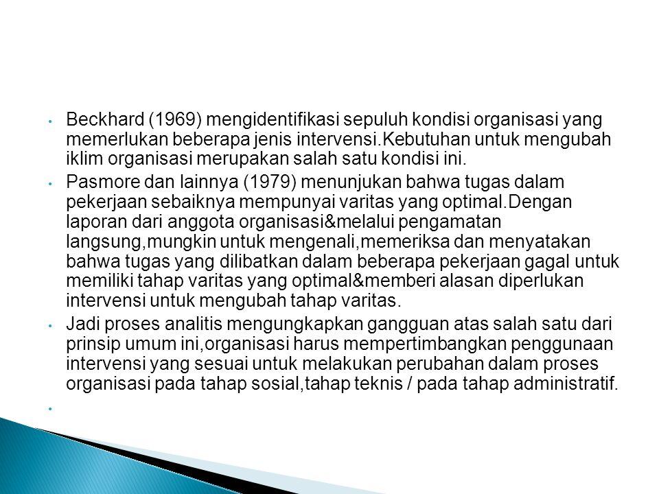 Beckhard (1969) mengidentifikasi sepuluh kondisi organisasi yang memerlukan beberapa jenis intervensi.Kebutuhan untuk mengubah iklim organisasi merupa