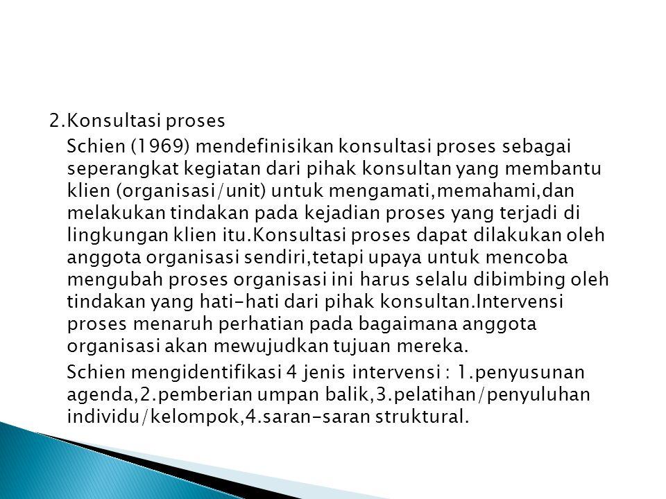 2.Konsultasi proses Schien (1969) mendefinisikan konsultasi proses sebagai seperangkat kegiatan dari pihak konsultan yang membantu klien (organisasi/u