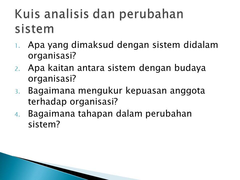 1. Apa yang dimaksud dengan sistem didalam organisasi? 2. Apa kaitan antara sistem dengan budaya organisasi? 3. Bagaimana mengukur kepuasan anggota te