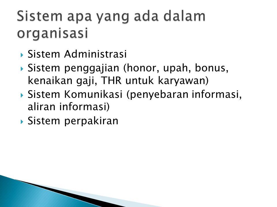  Sistem Administrasi  Sistem penggajian (honor, upah, bonus, kenaikan gaji, THR untuk karyawan)  Sistem Komunikasi (penyebaran informasi, aliran in
