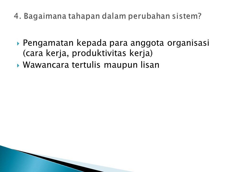  Pengamatan kepada para anggota organisasi (cara kerja, produktivitas kerja)  Wawancara tertulis maupun lisan