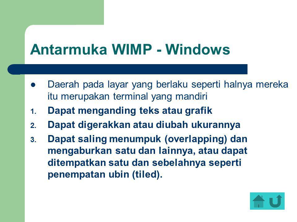 Antarmuka WIMP - Windows Daerah pada layar yang berlaku seperti halnya mereka itu merupakan terminal yang mandiri 1. Dapat menganding teks atau grafik