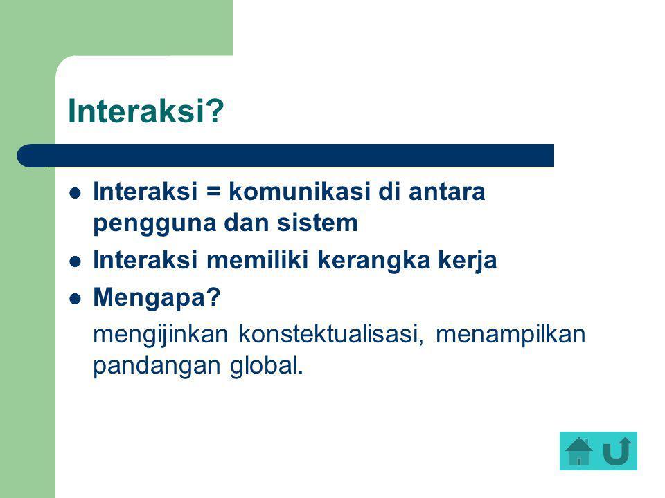 Interaksi? Interaksi = komunikasi di antara pengguna dan sistem Interaksi memiliki kerangka kerja Mengapa? mengijinkan konstektualisasi, menampilkan p