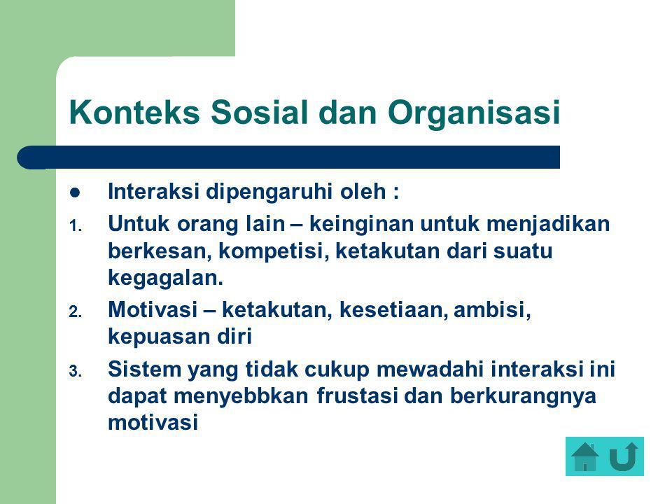 Konteks Sosial dan Organisasi Interaksi dipengaruhi oleh : 1. Untuk orang lain – keinginan untuk menjadikan berkesan, kompetisi, ketakutan dari suatu