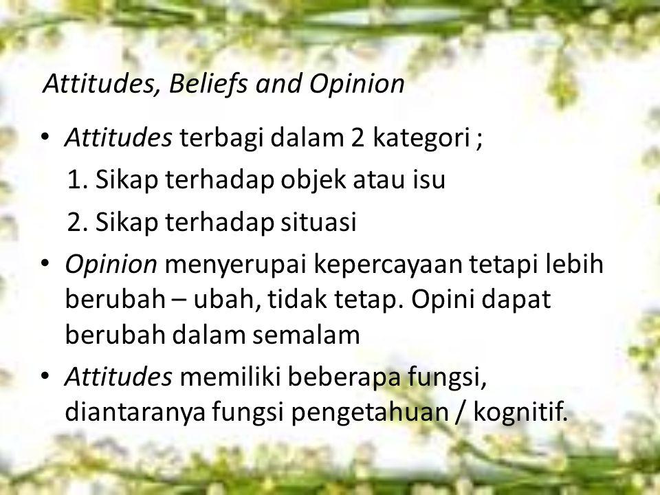 Attitudes, Beliefs and Opinion Attitudes terbagi dalam 2 kategori ; 1.