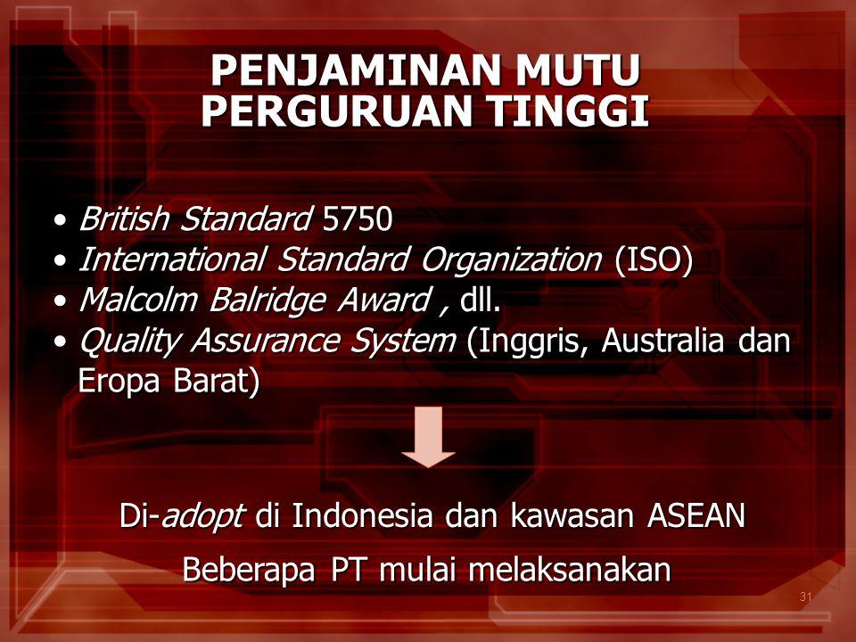 31 PENJAMINAN MUTU PERGURUAN TINGGI International Standard Organization (ISO)International Standard Organization (ISO) Malcolm Balridge Award, dll.Mal