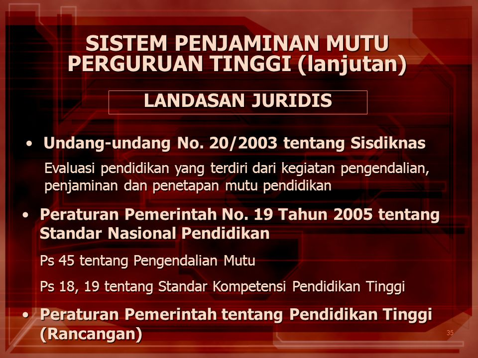 35 LANDASAN JURIDIS Undang-undang No. 20/2003 tentang SisdiknasUndang-undang No. 20/2003 tentang Sisdiknas Peraturan Pemerintah No. 19 Tahun 2005 tent