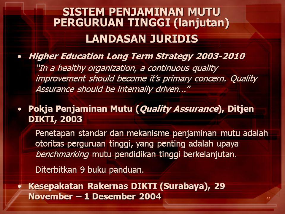 36 Pokja Penjaminan Mutu (Quality Assurance), Ditjen DIKTI, 2003Pokja Penjaminan Mutu (Quality Assurance), Ditjen DIKTI, 2003 Penetapan standar dan me