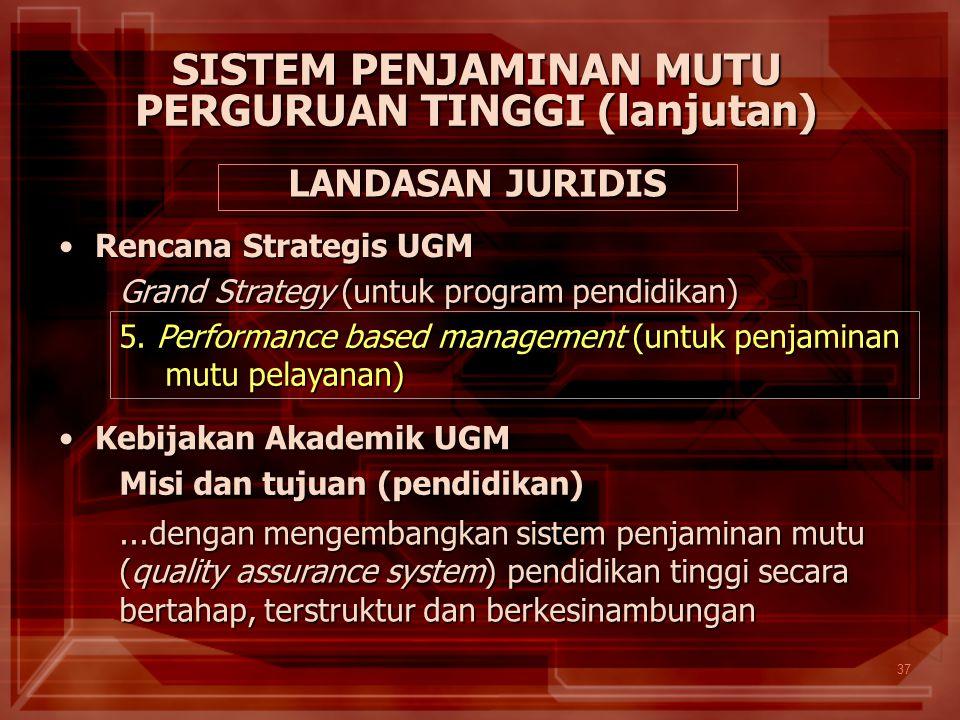 37 SISTEM PENJAMINAN MUTU PERGURUAN TINGGI (lanjutan) Rencana Strategis UGMRencana Strategis UGM Grand Strategy (untuk program pendidikan) 5. Performa