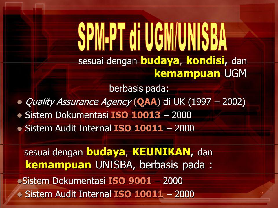 41 berbasis pada: Quality Assurance Agency (QAA) di UK (1997 – 2002) Quality Assurance Agency (QAA) di UK (1997 – 2002) Sistem Dokumentasi ISO 10013 –