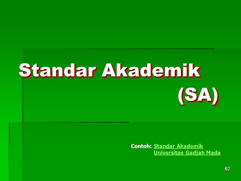 62 Standar Akademik Contoh: Standar Akademik Universitas Gadjah MadaStandar Akademik Universitas Gadjah Mada(SA)(SA)