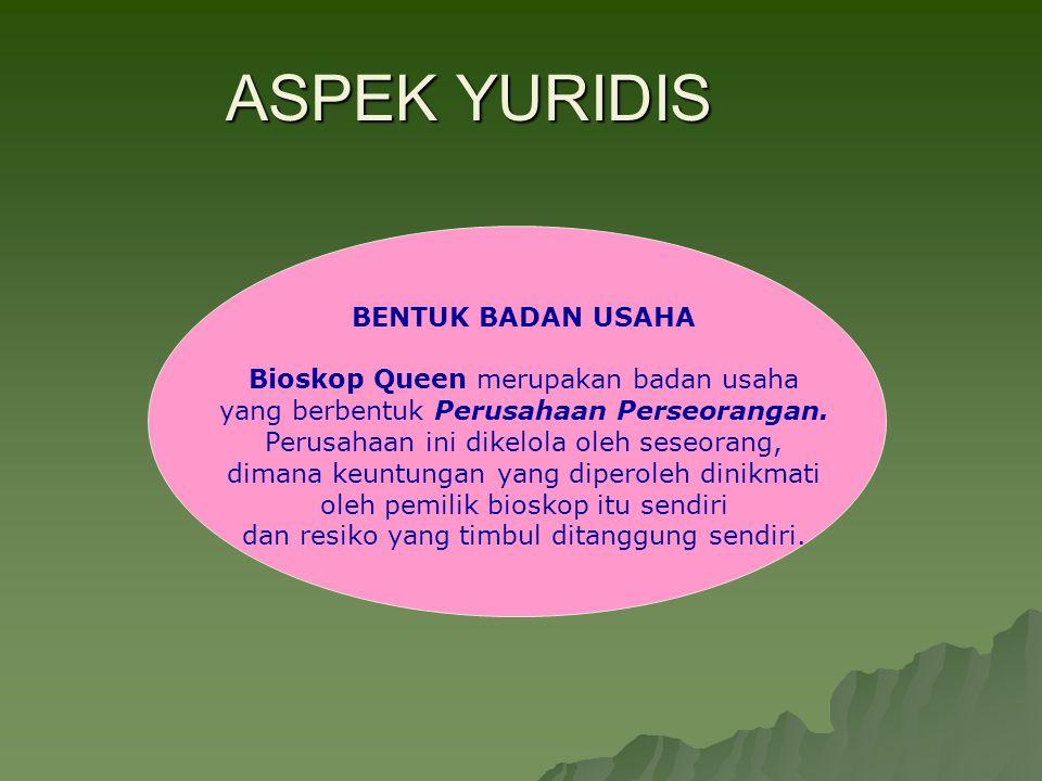 ASPEK YURIDIS BENTUK BADAN USAHA Bioskop Queen merupakan badan usaha yang berbentuk Perusahaan Perseorangan. Perusahaan ini dikelola oleh seseorang, d