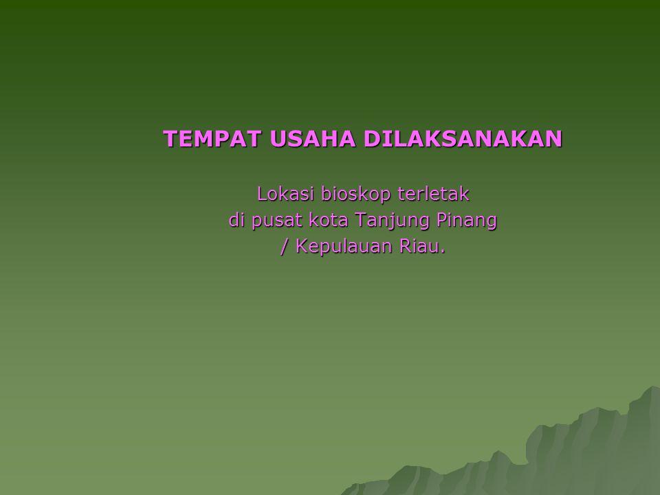 TEMPAT USAHA DILAKSANAKAN Lokasi bioskop terletak di pusat kota Tanjung Pinang / Kepulauan Riau.