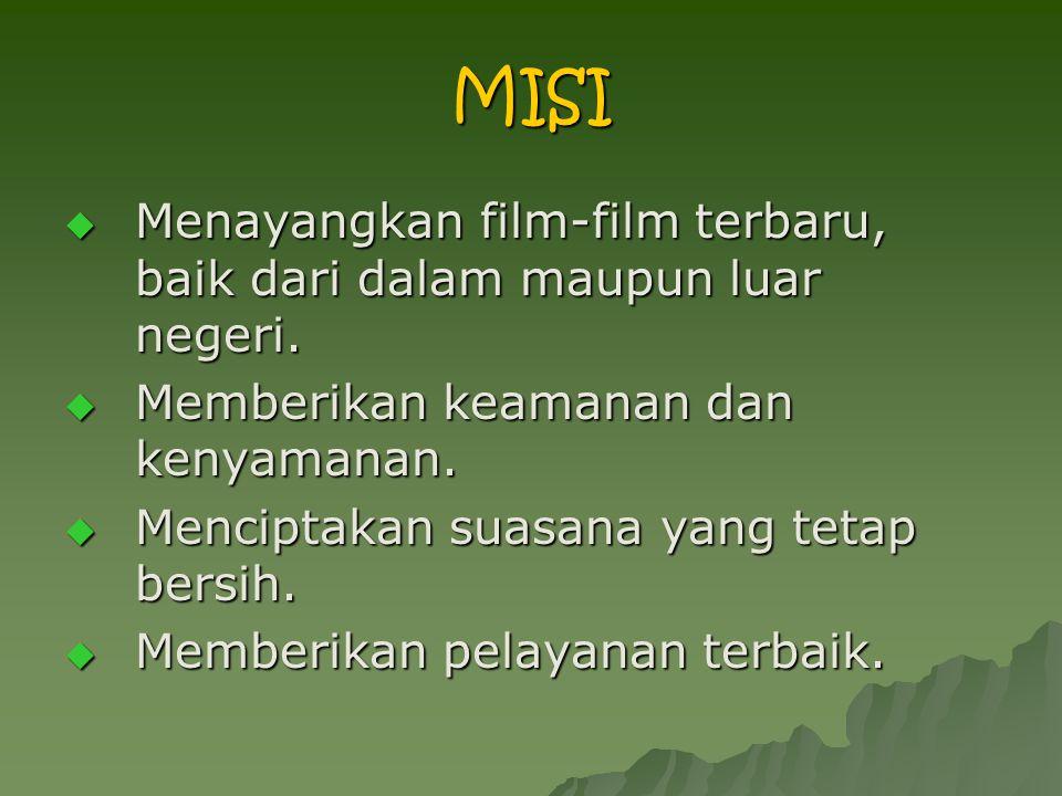 MISI  Menayangkan film-film terbaru, baik dari dalam maupun luar negeri.  Memberikan keamanan dan kenyamanan.  Menciptakan suasana yang tetap bersi