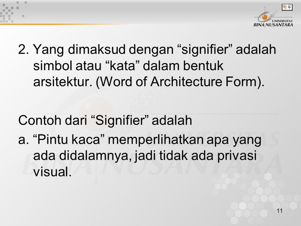 11 2. Yang dimaksud dengan signifier adalah simbol atau kata dalam bentuk arsitektur.