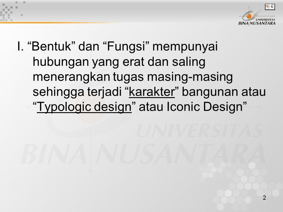 """2 I. """"Bentuk"""" dan """"Fungsi"""" mempunyai hubungan yang erat dan saling menerangkan tugas masing-masing sehingga terjadi """"karakter"""" bangunan atau """"Typologi"""