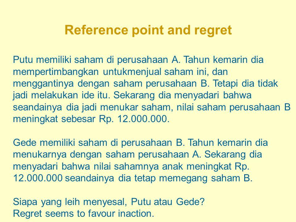 Reference point and regret Putu memiliki saham di perusahaan A. Tahun kemarin dia mempertimbangkan untukmenjual saham ini, dan menggantinya dengan sah