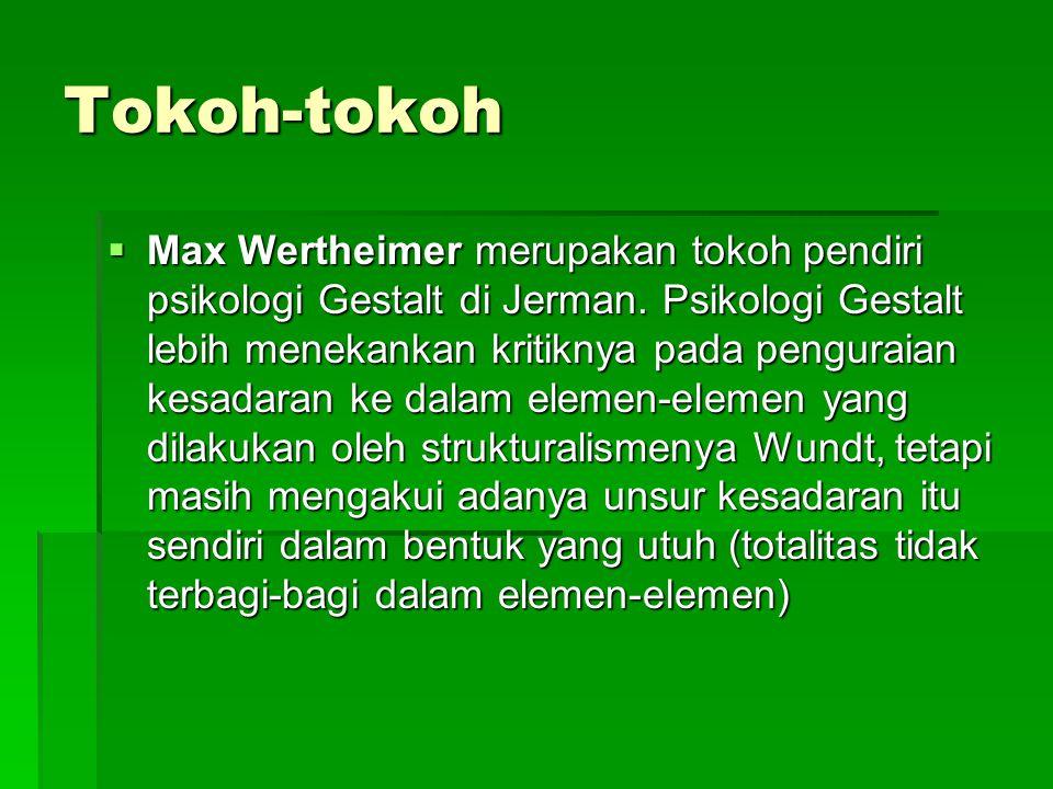 Tokoh-tokoh  Max Wertheimer merupakan tokoh pendiri psikologi Gestalt di Jerman. Psikologi Gestalt lebih menekankan kritiknya pada penguraian kesadar