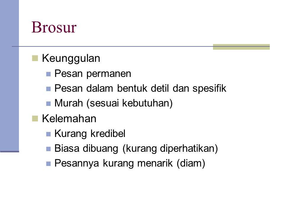 Brosur Keunggulan Pesan permanen Pesan dalam bentuk detil dan spesifik Murah (sesuai kebutuhan) Kelemahan Kurang kredibel Biasa dibuang (kurang diperh