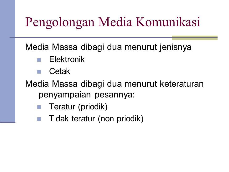 Pengolongan Media Komunikasi Media Massa dibagi dua menurut jenisnya Elektronik Cetak Media Massa dibagi dua menurut keteraturan penyampaian pesannya: