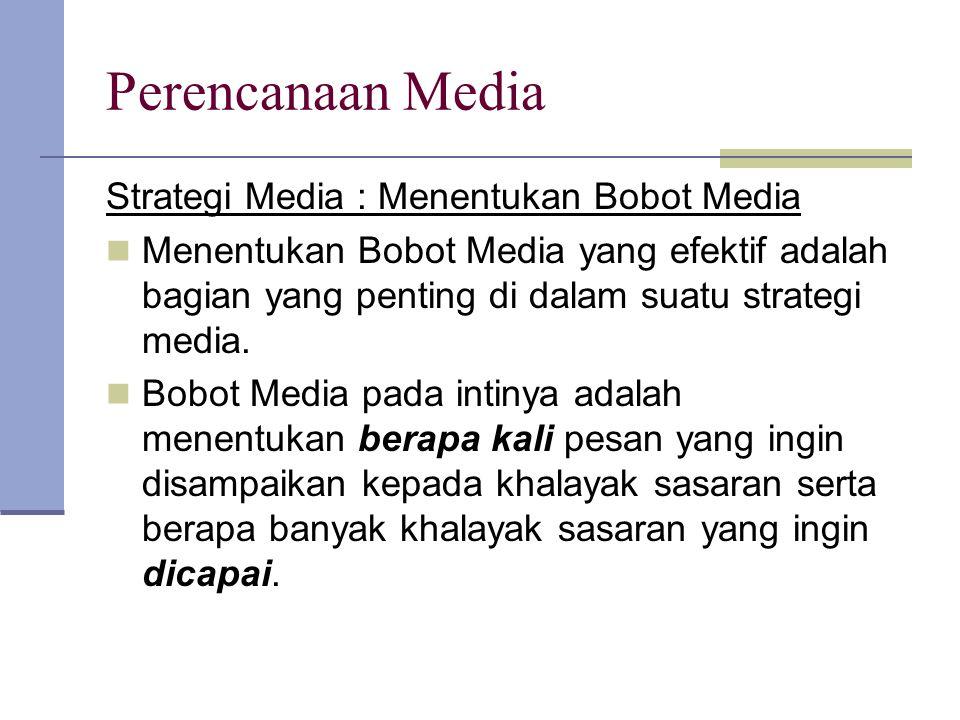 Perencanaan Media Strategi Media : Menentukan Bobot Media Menentukan Bobot Media yang efektif adalah bagian yang penting di dalam suatu strategi media