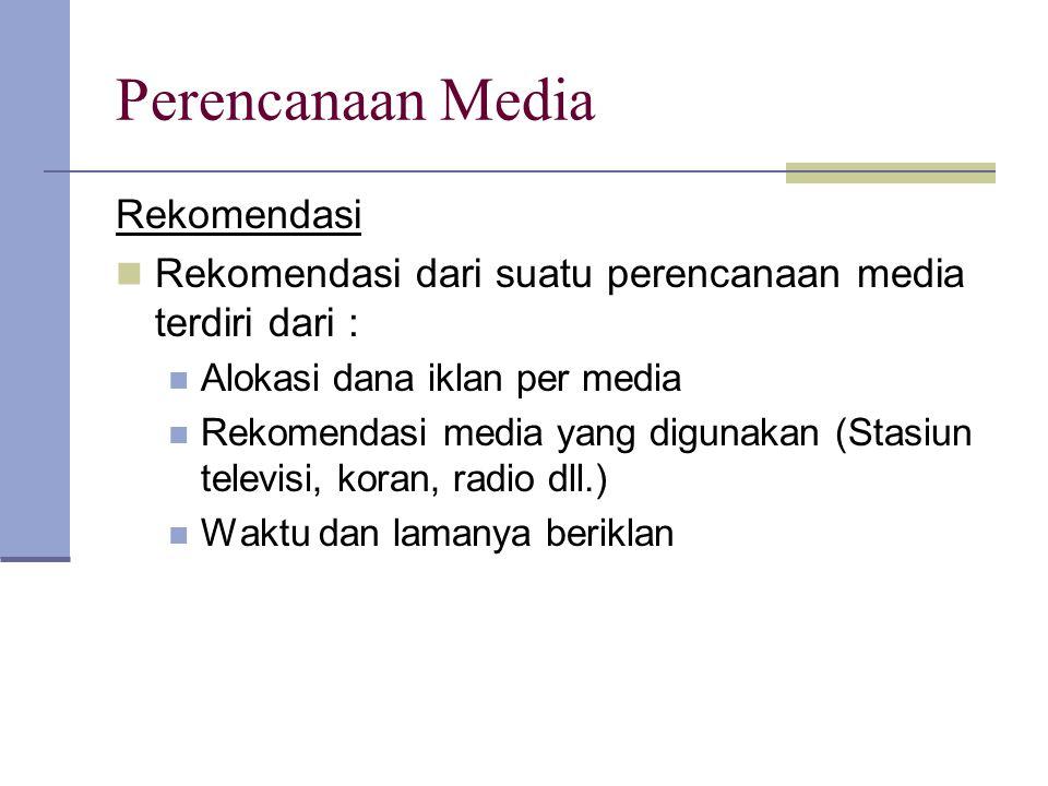 Perencanaan Media Rekomendasi Rekomendasi dari suatu perencanaan media terdiri dari : Alokasi dana iklan per media Rekomendasi media yang digunakan (S