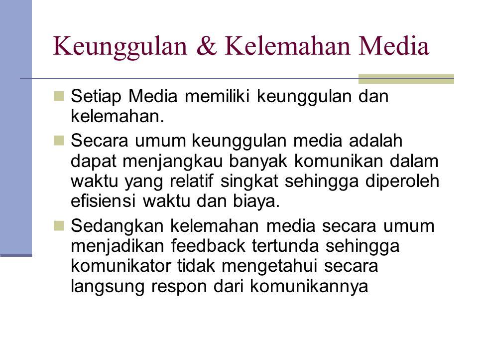 Keunggulan & Kelemahan Media Setiap Media memiliki keunggulan dan kelemahan. Secara umum keunggulan media adalah dapat menjangkau banyak komunikan dal