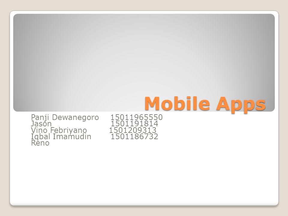 Mobile Apps Panji Dewanegoro 15011965550 Jason 1501191814 Vino Febriyano 1501209313 Iqbal Imamudin 1501186732 Reno