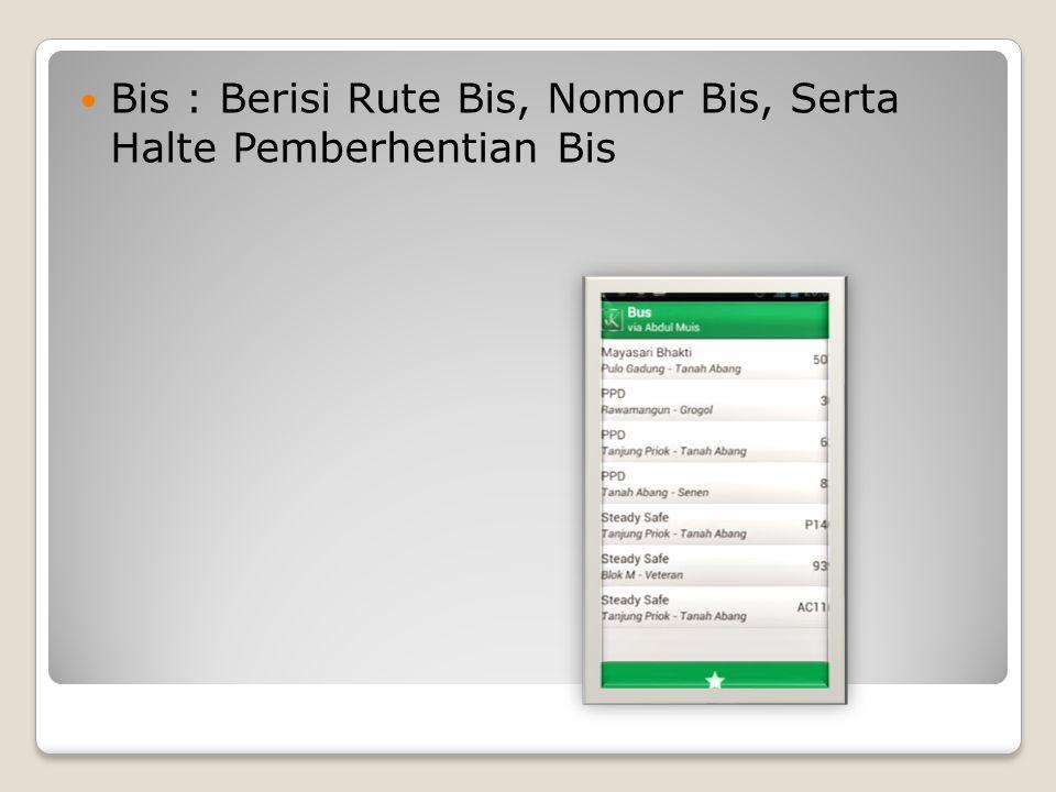 Bis : Berisi Rute Bis, Nomor Bis, Serta Halte Pemberhentian Bis