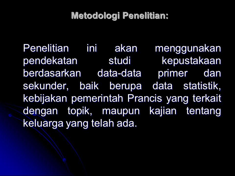 Metodologi Penelitian: Penelitian ini akan menggunakan pendekatan studi kepustakaan berdasarkan data-data primer dan sekunder, baik berupa data statis