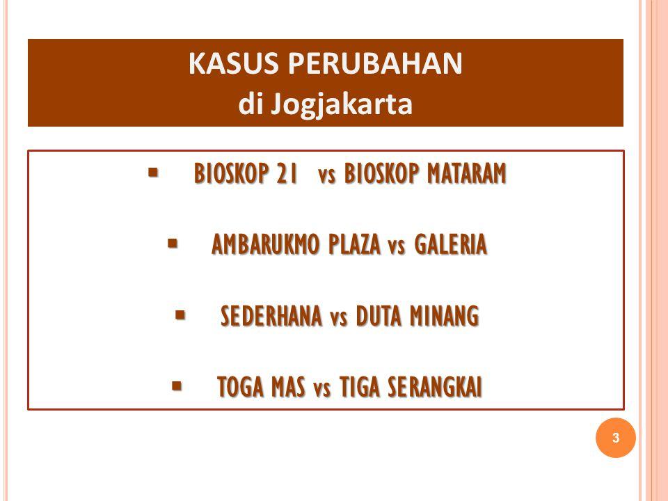 KASUS PERUBAHAN di Jogjakarta  BIOSKOP 21 vs BIOSKOP MATARAM  AMBARUKMO PLAZA vs GALERIA  SEDERHANA vs DUTA MINANG  TOGA MAS vs TIGA SERANGKAI 3