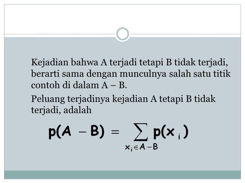 Kejadian bahwa A terjadi tetapi B tidak terjadi, berarti sama dengan munculnya salah satu titik contoh di dalam A – B. Peluang terjadinya kejadian A t